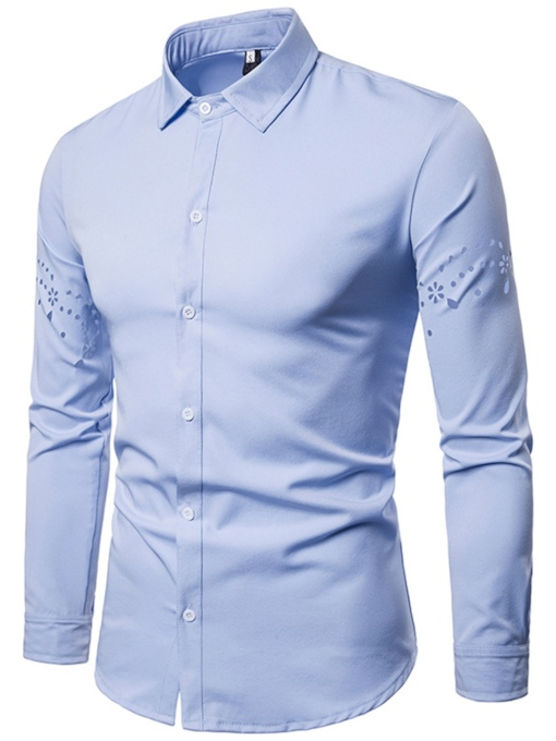 Hollow Design Lapel Solid Color Men's Shirt