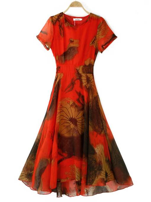 Round Neck Floral Prints Elegant Day Dress