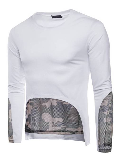 Camouflage Mesh Patchwork Plain Men's T-Shirt