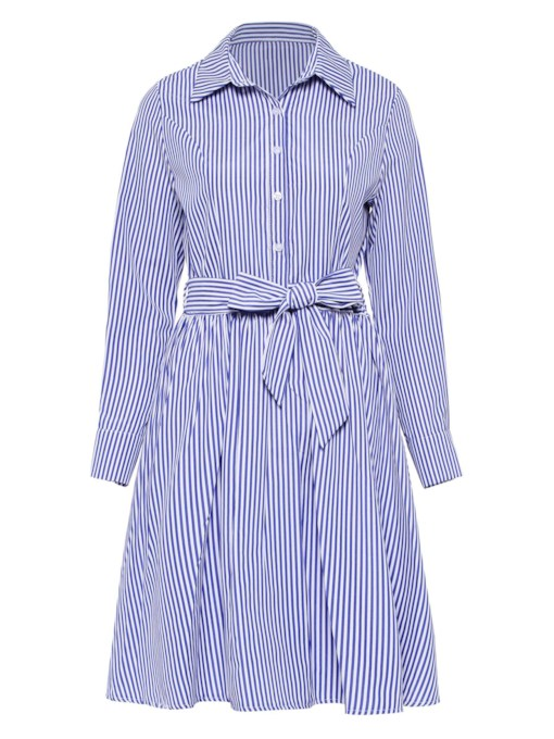 Striped Lace up Women's Long Sleeve Dress
