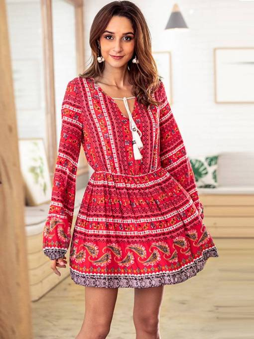 V-Neck Long Sleeve Prints Casual Dress