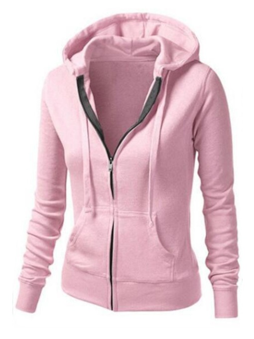 Zip Up Pocket Long Sleeve Solid Color Women's Hoodie