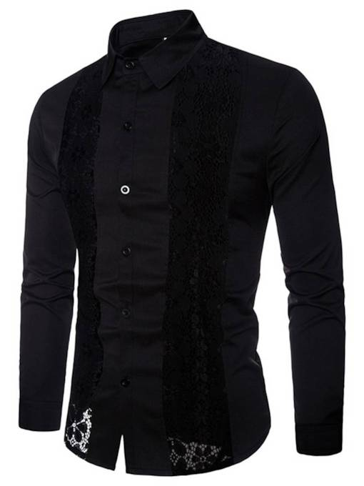 Lace Hallow Solid Color Men's Shirt