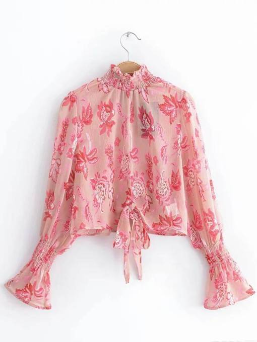 Turtleneck Frilled Bell Sleeve Tie Front Women's Blouse