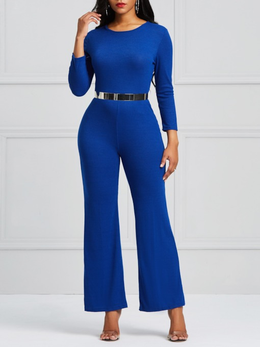 Backless Plain Ankle Length Wide Legs Women's Jumpsuit