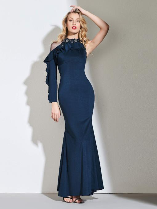 Button Back Beaded Ruffles Long Sleeve Evening Dress