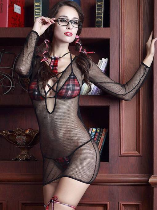 Plaid See-Through Skinny Schoolgirl Costume