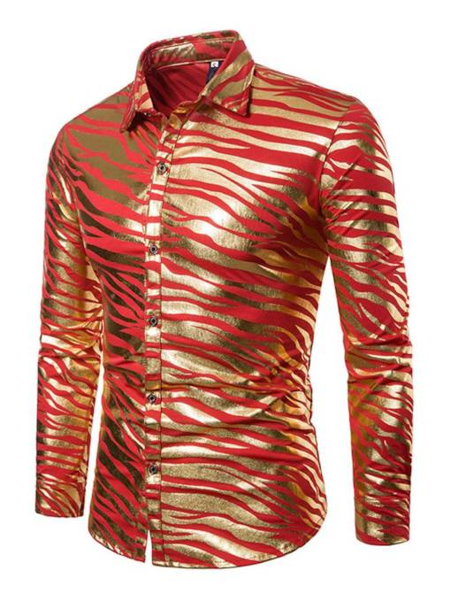 Zebra Stripe Gliding Slim Men's Leisure Shirt