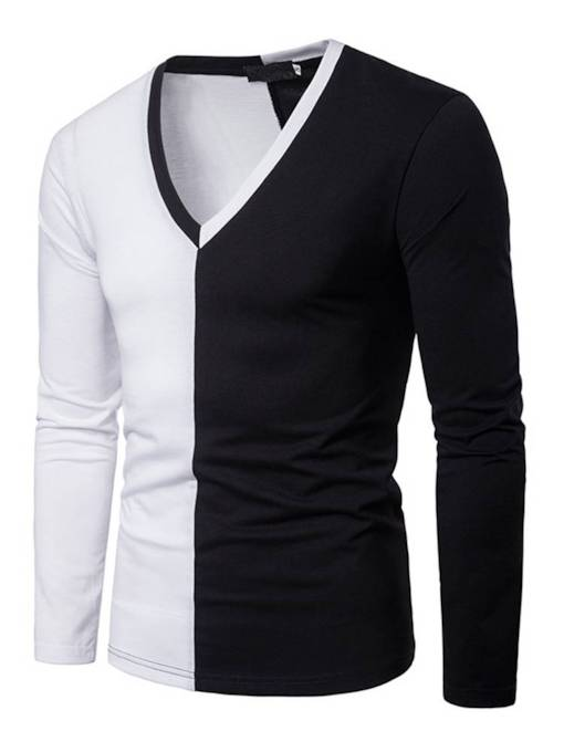 V-Neck Symmetry Patchwork Slim Men's T-Shirt