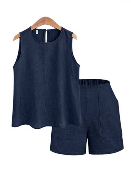 Plain Vest and Shorts Women's Two Piece Set