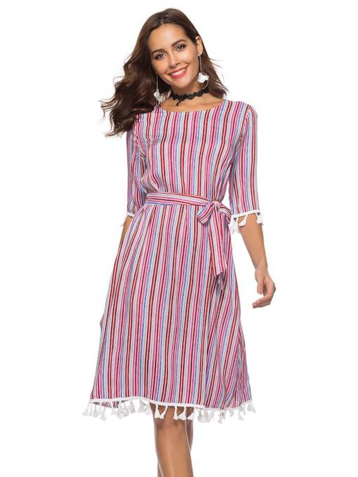 Boat Neck Stripe Elegant Women's Day Dress
