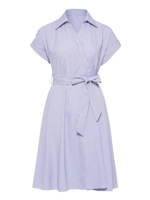 Short Sleeve Striped Lace up Women's Day Dress