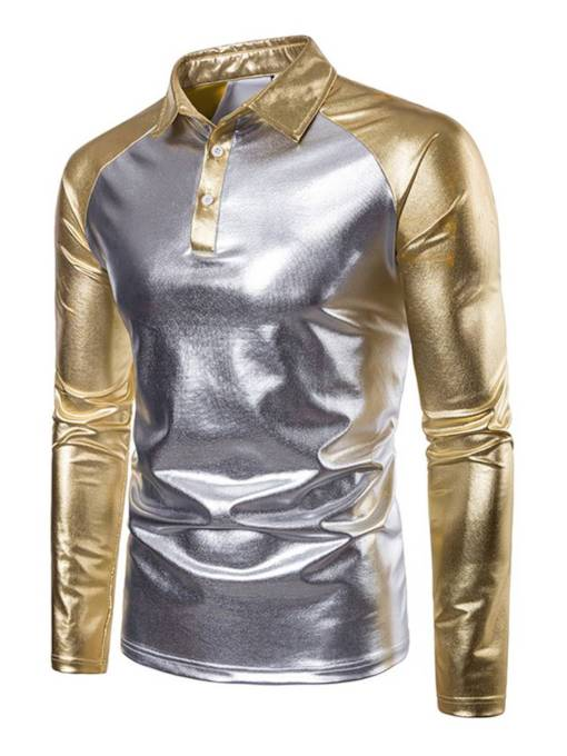 Gilding Raglan Sleeve Patchwork Men's Polo