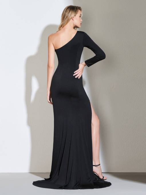 Sheath Long Sleeve Side-Split Black Evening Dress 2019