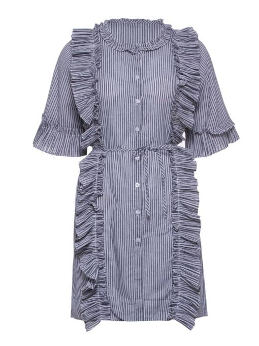 Half Sleeve Striped Falbala Women's Day Dress