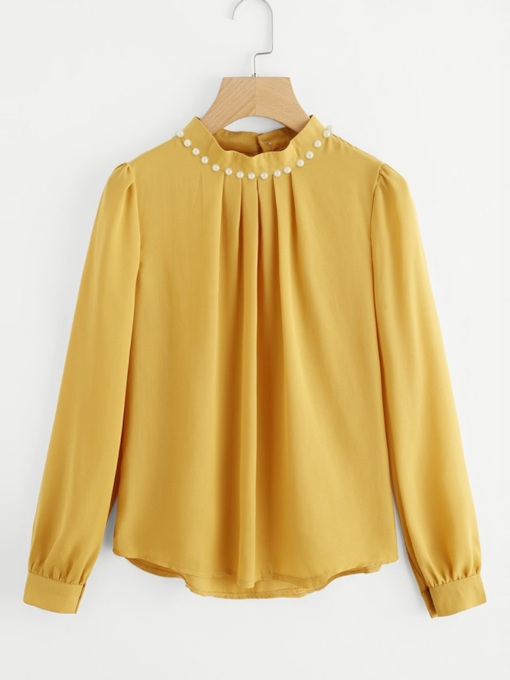Plain Ruched Beading Stand Collar Women's Blouse