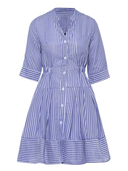 Half Sleeve Striped Single-Breasted Women's Day Dress