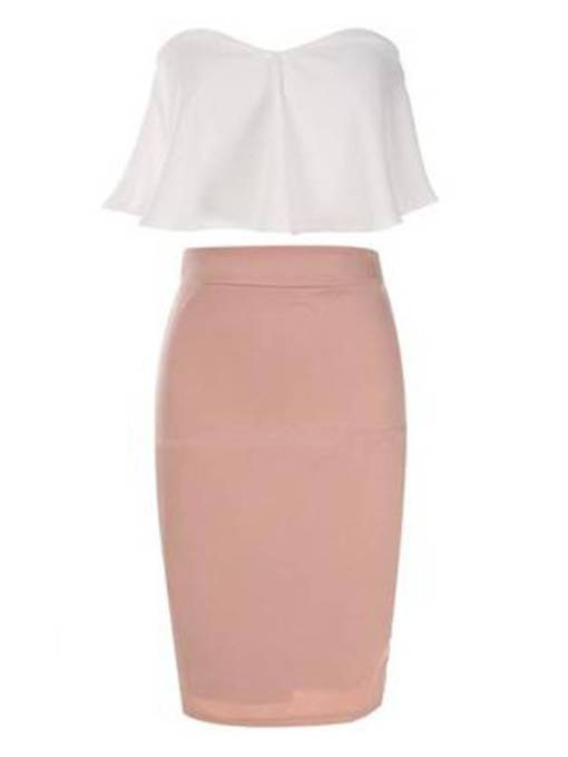 Plain Tee and Bodycon Skirt Women's Two Piece Set