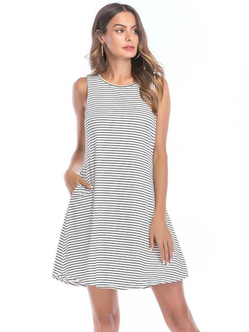 Summer Casual Sleeveless Stripe Day Dress