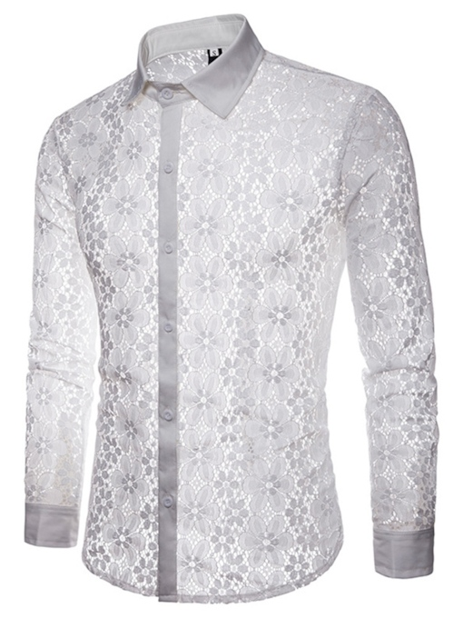 Hollow See-Through Lace Slim Men's Shirt