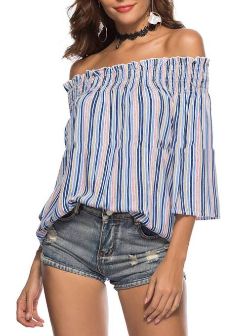 Off Shoulder Bell Sleeve Stripe Women's Blouse