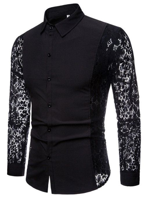Sleeve Hallow Lace Men's Shirt