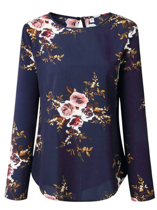 Floral Long Sleeve Loose Fit Women's T Shirt