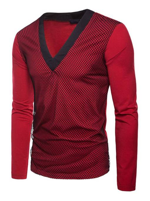 V-Neck Fake Two Piece Mesh Slim Men's T-Shirt