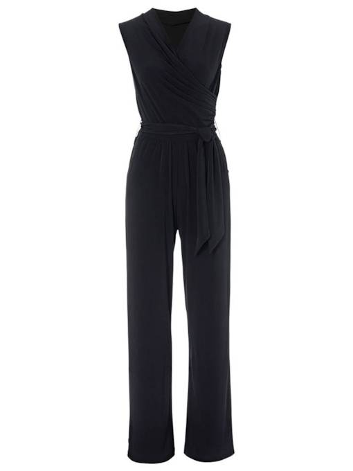 Plain Pleated Pocket Tie Waist Women's Jumpsuit