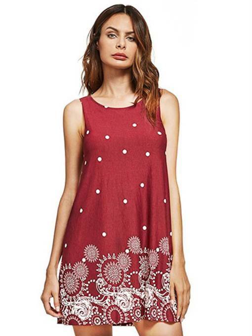 Prints Sleeveless A-Line Polka Dots Day Dress