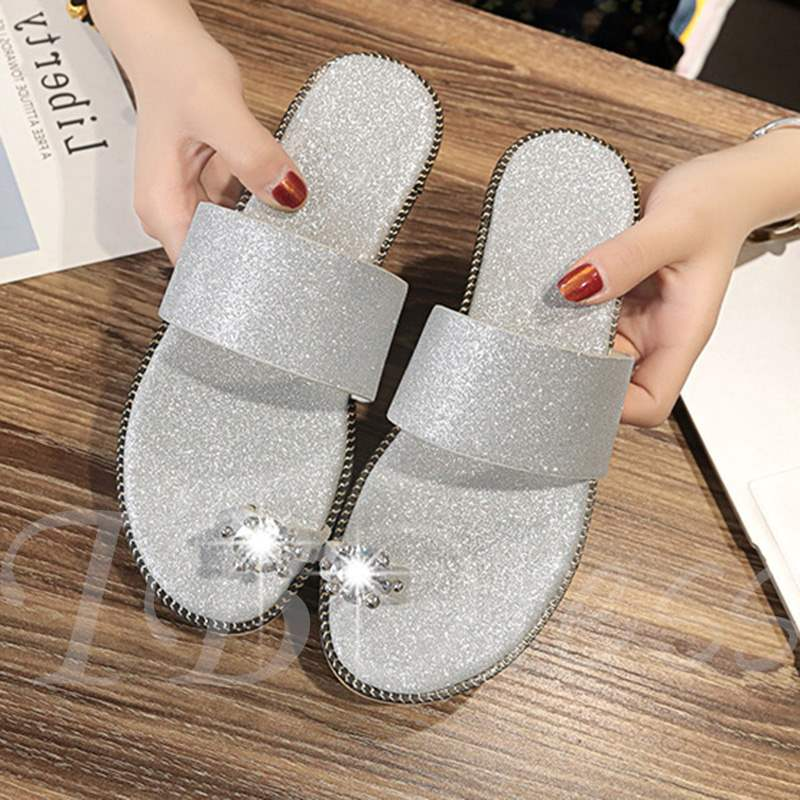 572054856112 Toe Ring Slip-On Block Heel Rhinestone Sparkly Women s Sandals. Sold Out