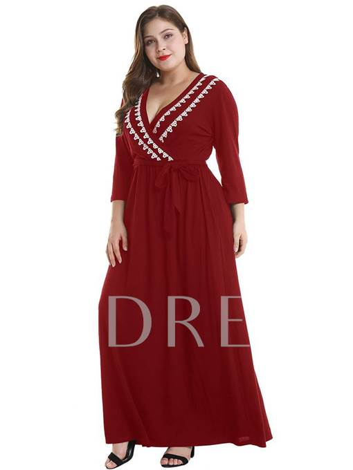 Plus Size Pocket V-Neck Cusual Maxi Dress