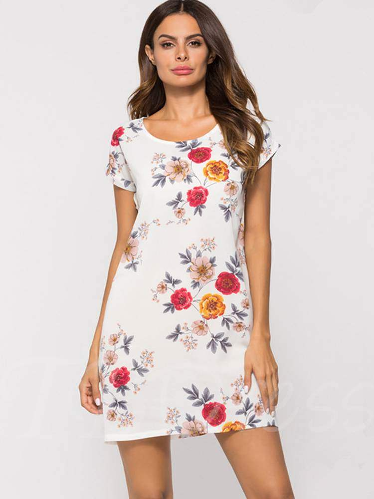 Buy Round Neck Short Sleeve Prints Day Dress, Summer, 13355591 for $9.93 in TBDress store