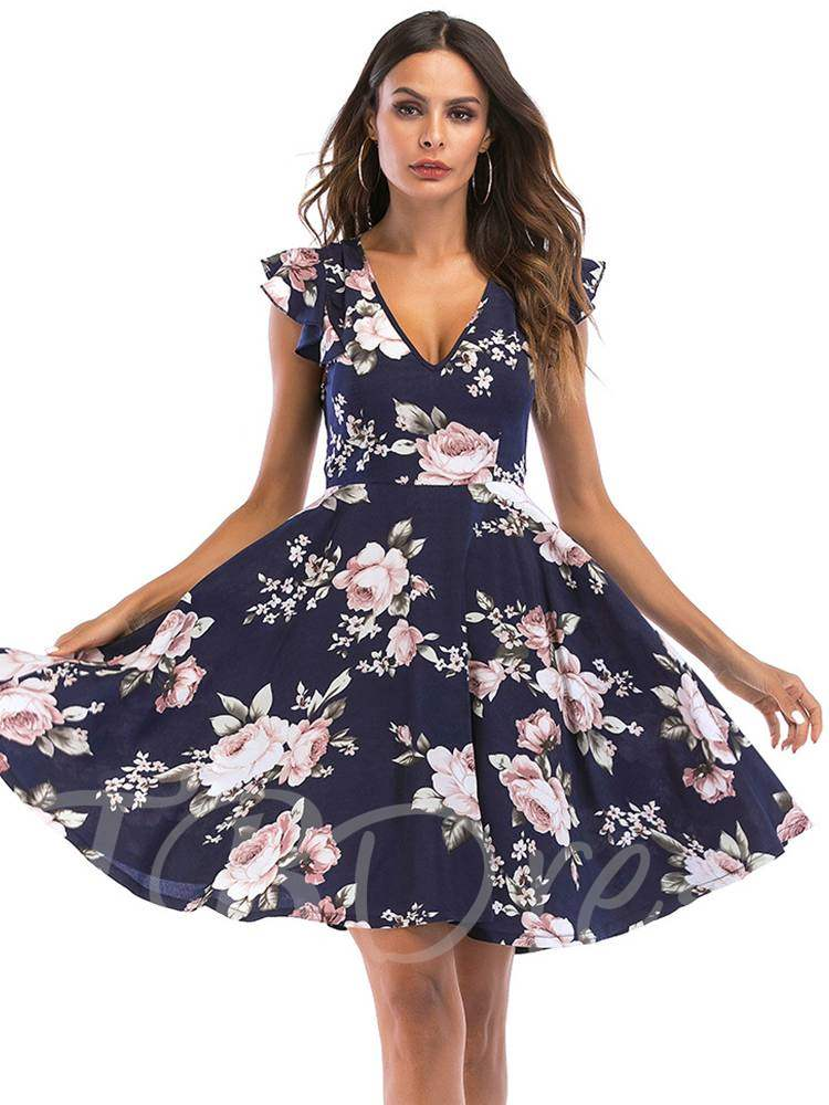 Buy V-Neck Backless Floral Prints Women's Day Dress, Summer, 13355594 for $13.24 in TBDress store