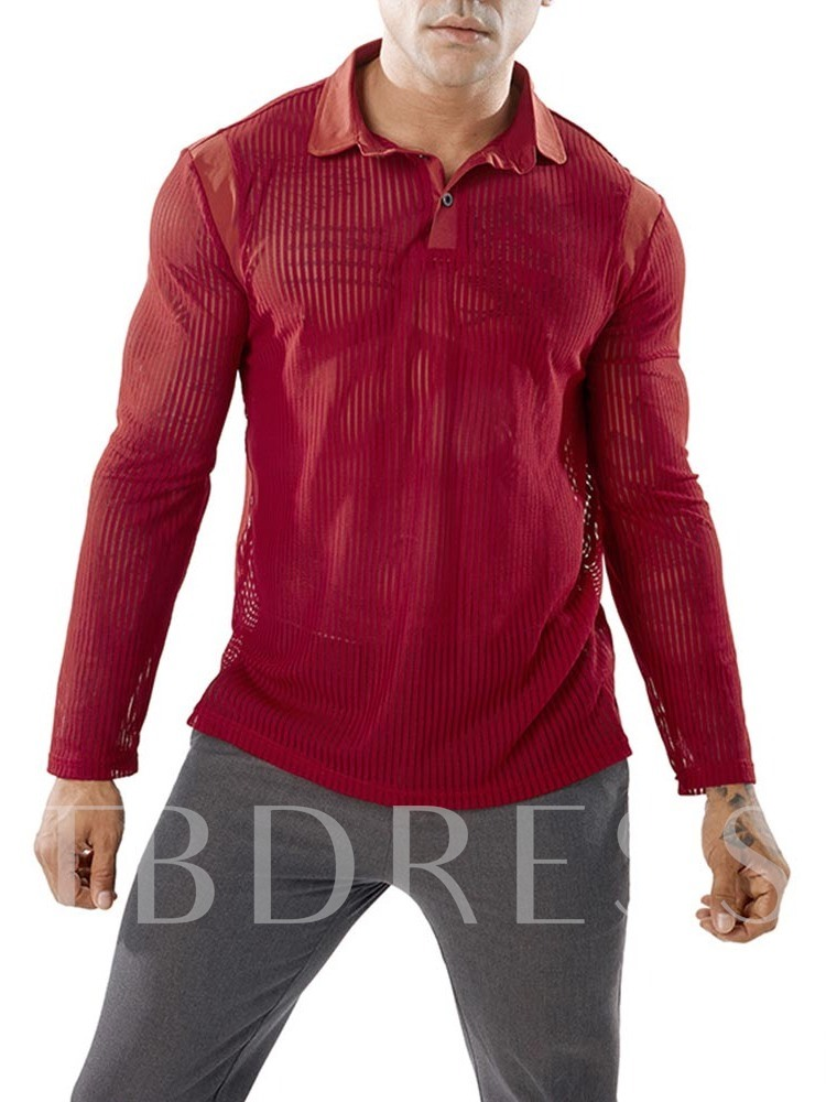 Male Sexy Transparent See Through Shirt Slim Fit Black Red Long Sleeve Men's Tops Shirt