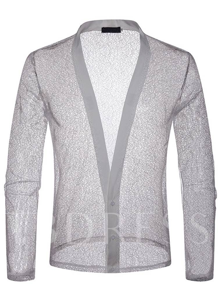 See-Through Mesh Slim Sexy Men's Shirt