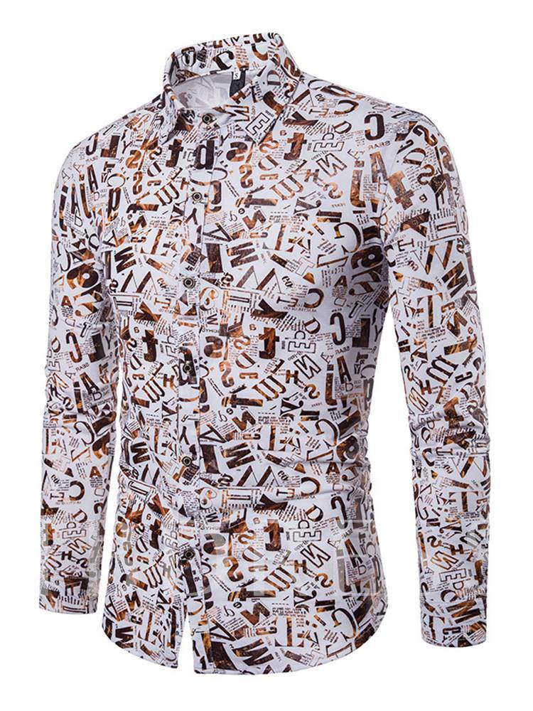 Word Print Gilding Slim Men's Leisure Shirt