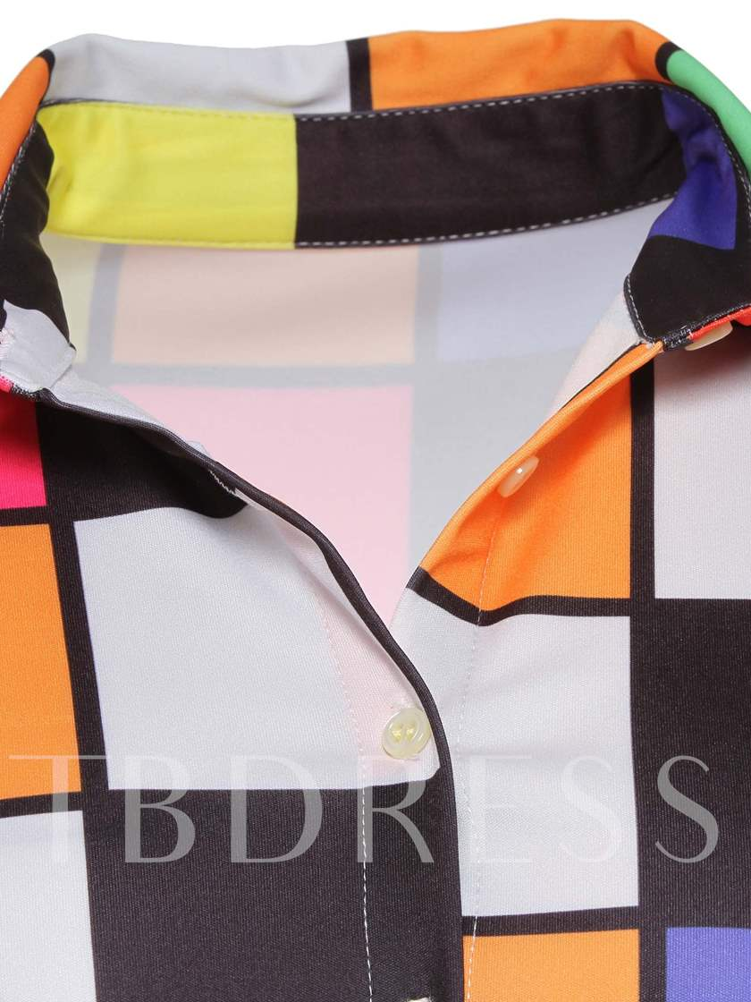 Color Block Plaid Lapel Mid-Length Women's Blouse