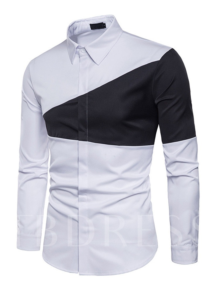 Triangle Patchwork Lapel Men's Dress Shirt