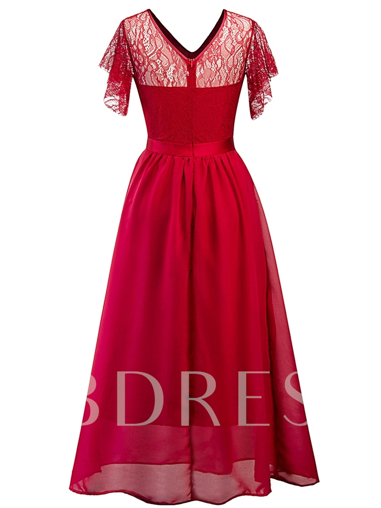 V-Neck Lace Vintage High Waist Dress
