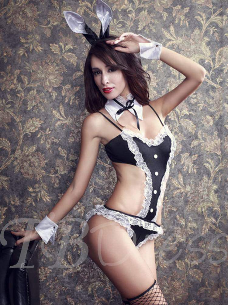 Lace Button Three-Point Bunny Costume