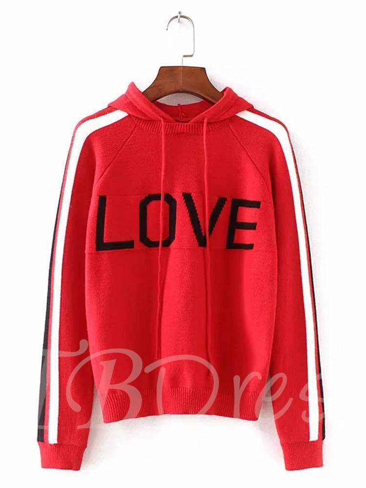 Buy Letter Print Drawstring Women's Hooded Sweater, Spring,Fall,Winter, 13355651 for $17.28 in TBDress store