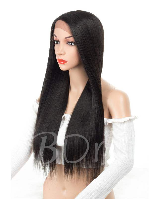 Long Silk Straight One Side Part Synthetic Hair Lace Front Wig