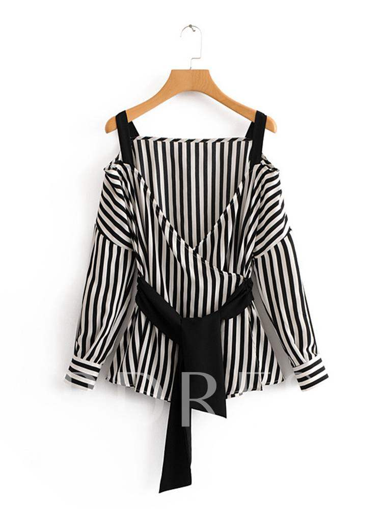 Straps Off Shoulder Lace Up Women's Blouse, Spring,Fall, 13355644