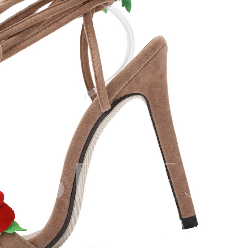 Lace-Up Ankle Strap Floral Appliques Stiletto Heel Women's Sandals