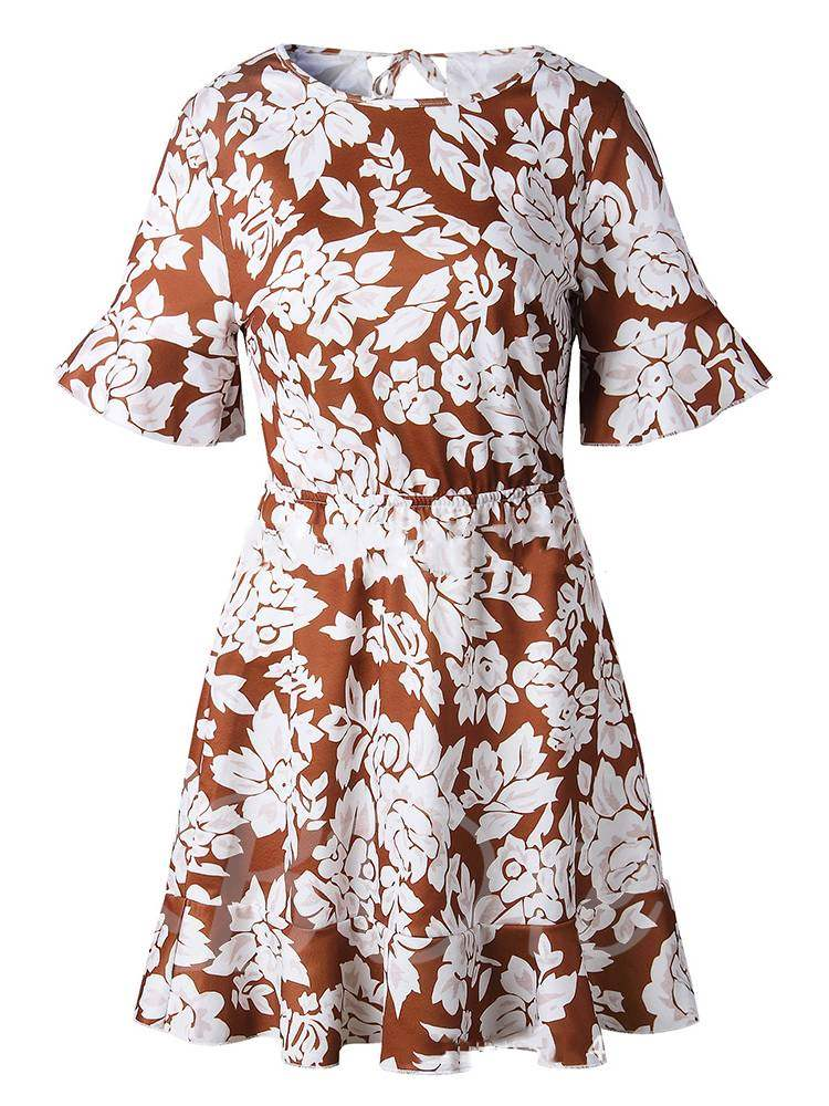 Buy Round Neck Floral Prints Backless Day Dress, 13360005 for $15.81 in TBDress store