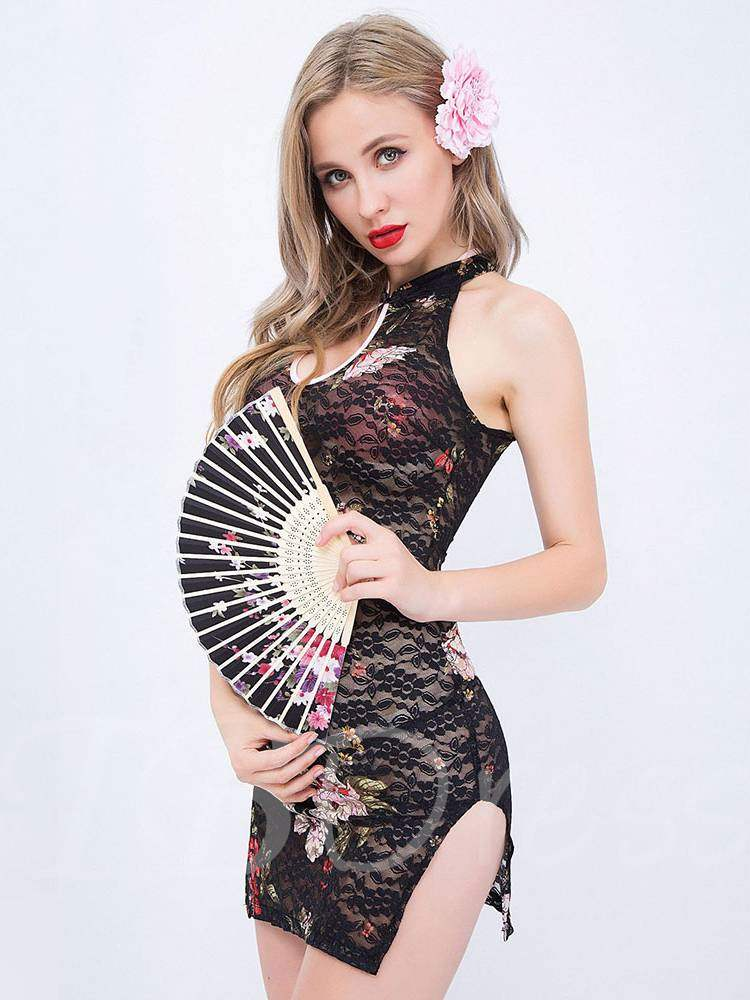 Floral See-Through Sexy Cheongsam Costume
