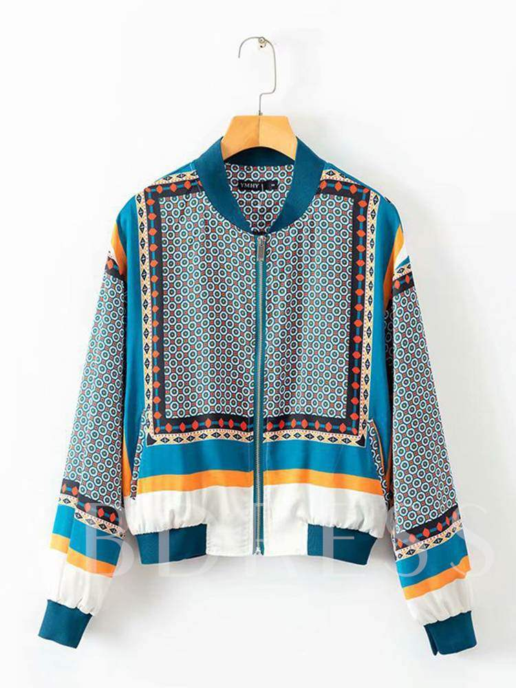 Buy Geometric Print Stand Collar Zipper Up Women's Jacket, Spring,Fall, 13355658 for $20.96 in TBDress store
