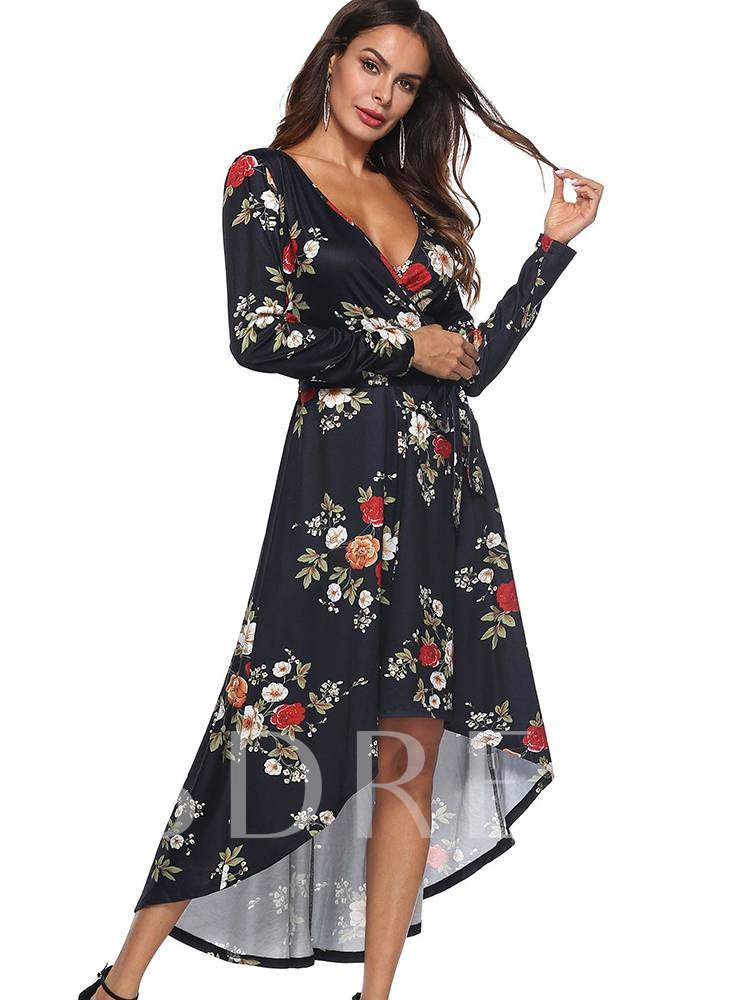 Buy Long Sleeve Floral Prints A-Line Maxi Dress, Fall, 13354836 for $15.81 in TBDress store