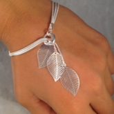 Simple Silver Leaves Multilayer Bracelet